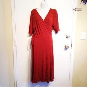 ELOQUII Plus Size Burnt Rust Orange Wrap Dress
